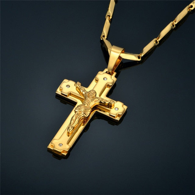 Mens Gold Cross Chain Male Necklace Christian Jewelry Religious Jesus Crucifix Cross Necklace Pendant For Women/Men, Neckless