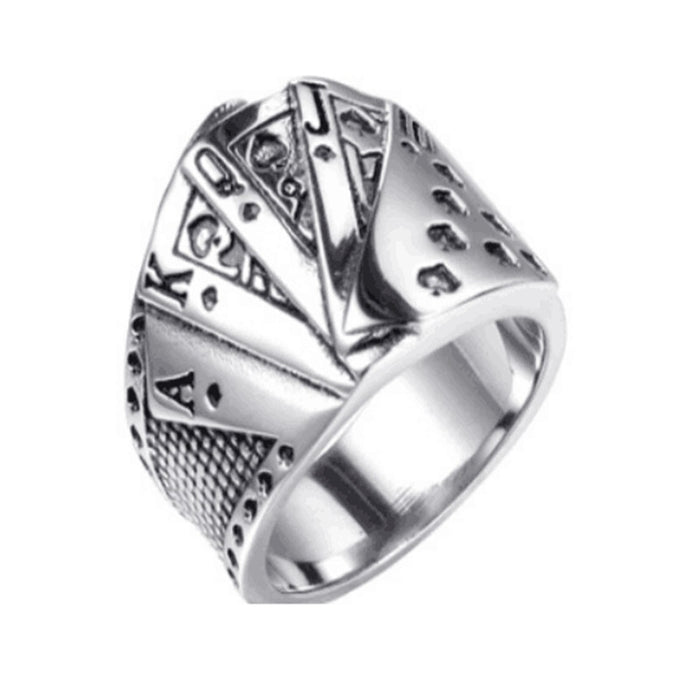 size 7-15 Support Dropship Poker Card Ring 316L Stainless Steel Jewelry Cool Men Boys Punk Ring