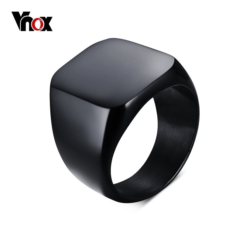 Vnox Smooth Men's Black Rock Punk Rings Cool Fashion Individuality Signet Ring for Men Party Jewelry