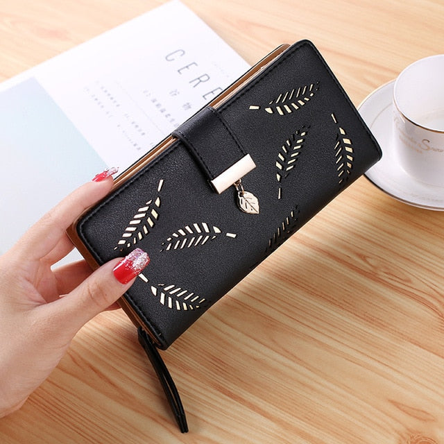 2018 Women Wallet Purse Female Long Wallet Gold Hollow Leaves Pouch Handbag for Women Coin Purse Card Holders Cartera Mujer