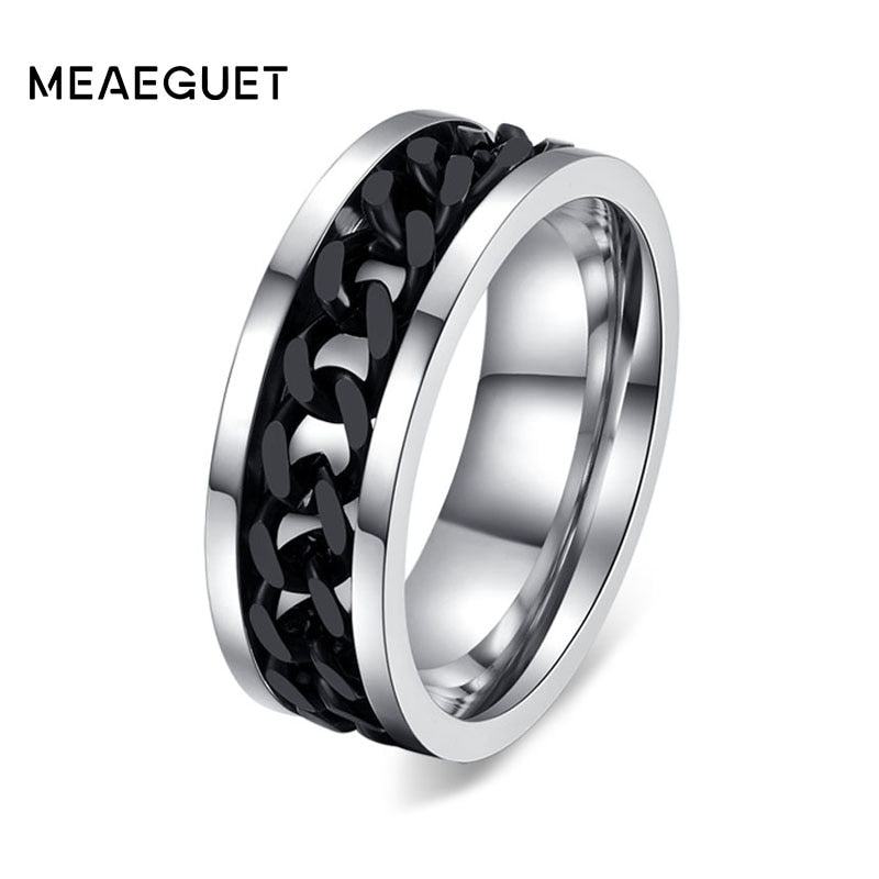 Meaeguet Fashion Men's Ring The Punk Rock Accessories Stainless Steel Black Chain Spinner Rings For Men 3 Color USA Size 6-15