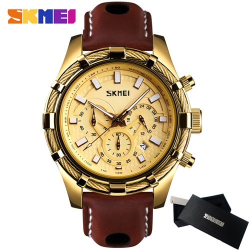 2019 SKMEI New Men's Watches Top Brand Luxury Military Quartz Watch Leather Waterproof Sport Chronograph Watch Men reloj