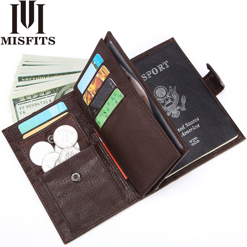 MISFITS Genuine Leather Men Wallet Travel Passport Cover for Male Organizer Large Capacity Passport with Card Holder Coin Purse