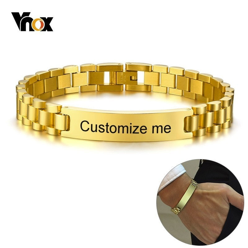 Vnox Gold Tone Stainless Steel Mens ID Bracelets Free Engraving Laser Name Date Customize Gift
