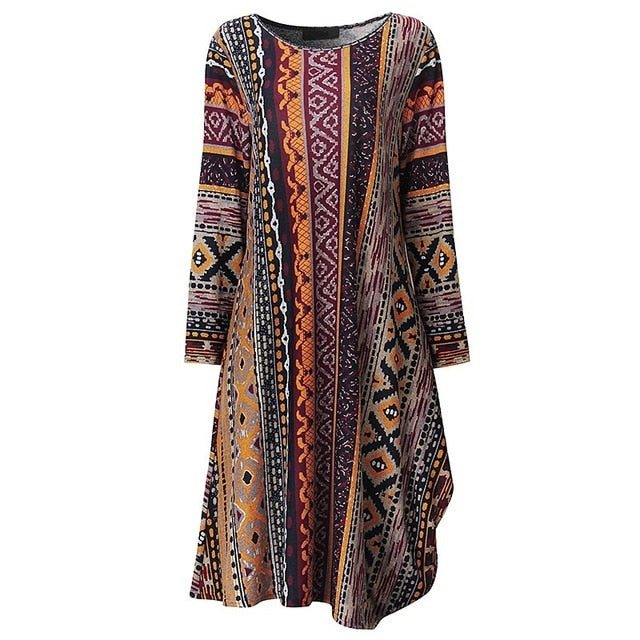 Plus Size Women Floral Print Asymmetric Hem Dress ZANZEA Autumn O Neck Long Sleeve Retro Midi Dress Leisure Kaftan Vestido 5xl