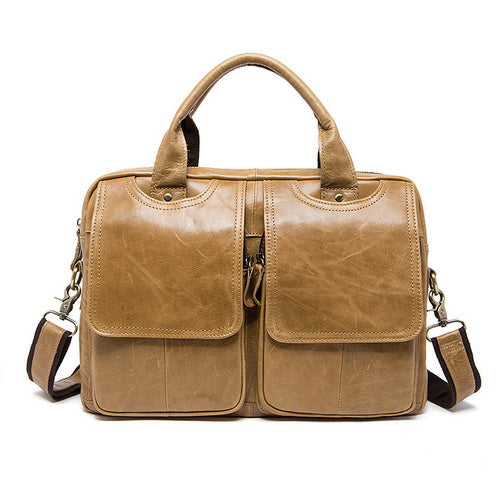 MVA Men's Briefcase bag men's Genuine Leather bags male man 14inch business Laptop bag for men briefcases leather bags 8002-1