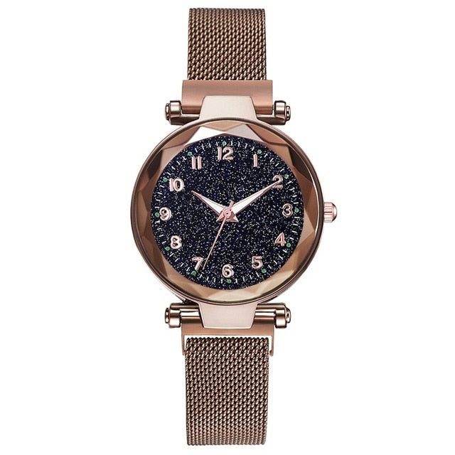 Luxury Rose Gold Women Watches Minimalism Starry Sky Magnet Buckle Fashion Female Bracelet Wristwatch Waterproof Simple Numeral