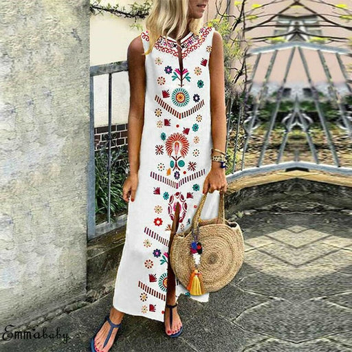 Large Size Women Sleeveless Boho Cotton Casual Linen Kaftan Maxi Dress Ladies Long Dresses Plus Szie S-5XL