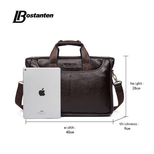 Bostanten 2019 New Fashion Genuine Leather Men Bag Famous Brand Shoulder Bag Messenger Bags Causal Handbag Laptop Briefcase Male