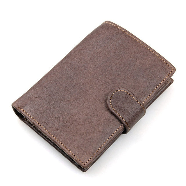 Vintage Men's Short Wallet Men Genuine Leather Clutch Wallets Purses First Layer Real Leather Multi-Card Bit Retro Card Holder