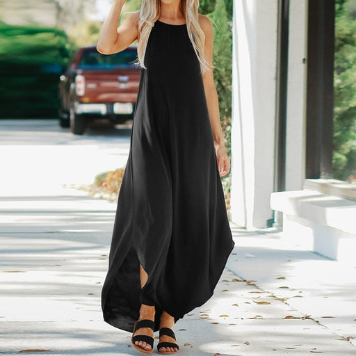 2019 ZANZEA Summer Women Strappy Sleeveless Casual Loose Maxi Long Dress Solid Beach Party Long Kaftan Sundress Safarans Vestido