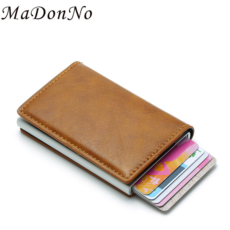 MaDonNo Anti Wallet Men Money Bag Slim Mini Purse Male Aluminium Rfid Card Holder Wallet Thin Small Smart Wallet Walet portfel