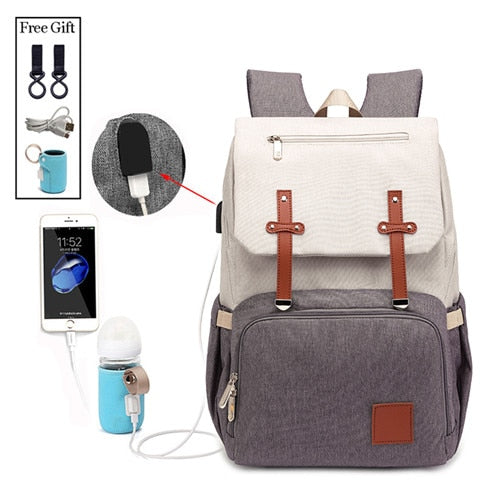 New Fashion With USB Mummy Daddy Diaper Bag Pure Large Waterproof Nursing Bag Travel Backpack Stroller Baby Care Nappy Bag