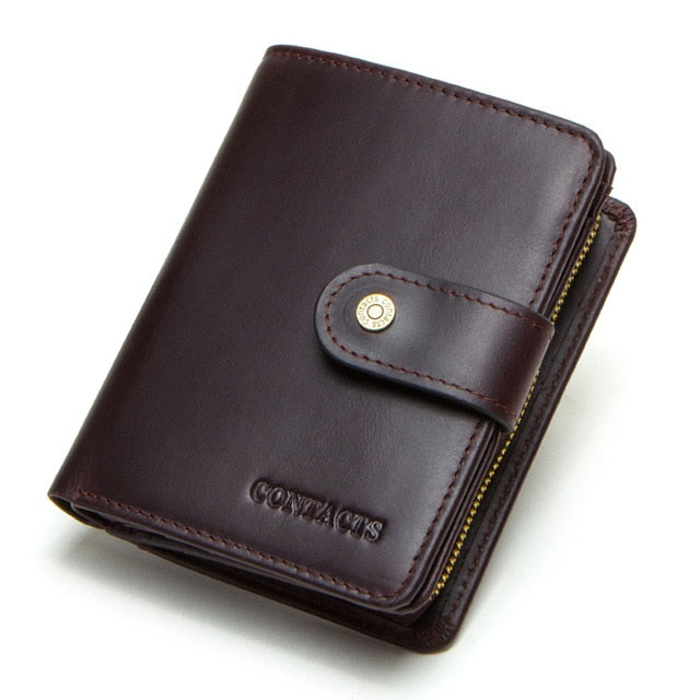 CONTACT'S genuine leather RFID vintage wallet men with coin pocket short wallets small zipper walet with card holders man purse