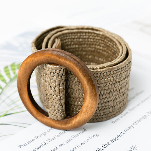 Conmoto Wooden Button Belt For Women Elastic Straw Belt Decoration for Dress Belt Casual Female Belt Accessories