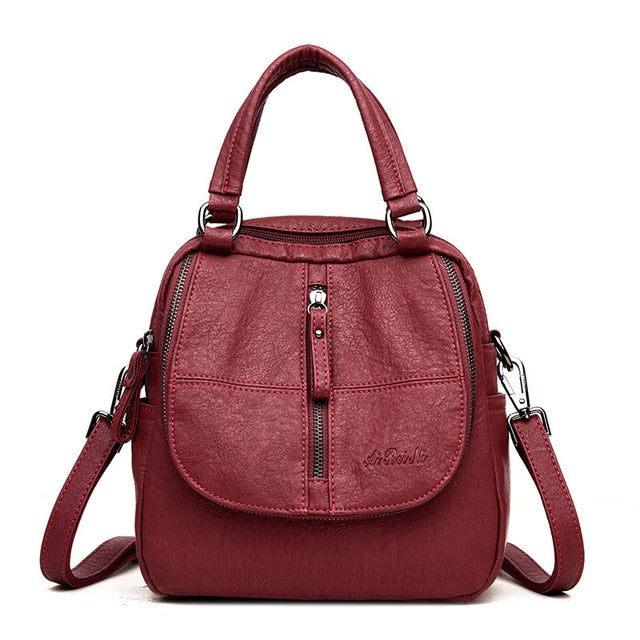Multifunctional Women Backpack Female Leather Backpack Small Mochila Feminina School Backpacks for Teenage Girls Bag Sac A Dos