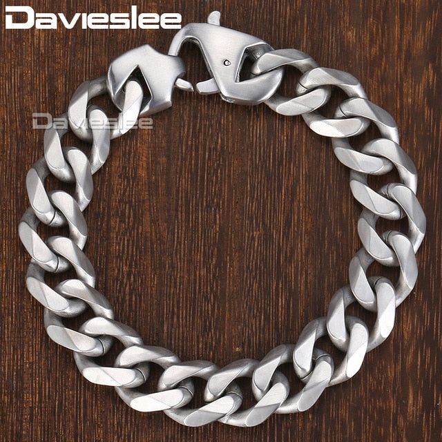 Davieslee Matte Polished Mens Bracelet Curb Cuban Link Chain 316L Stainless Steel Bracelet 15 mm DHBM109