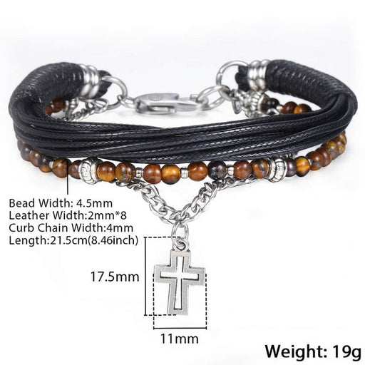 Trendsmax Natural Tiger Eye Stone Beaded Bracelet for men boy women Stainless Steel Cross Charm Leather Bracelet Jewelry KDLB71