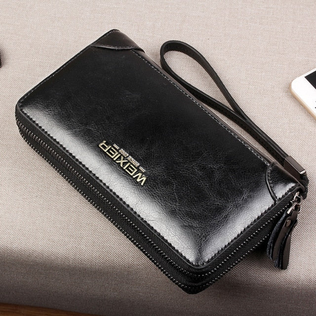 Brand Long Wallet Men Double Zipper Coin Pocket Purse Men Wallets Casual Business Card Holder Vintage Large Wallet Male Clutch
