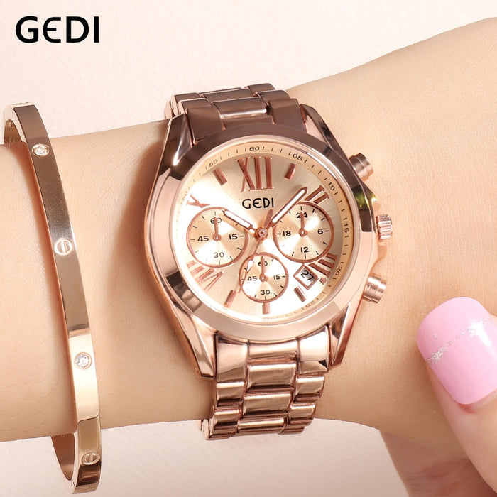 GEDI Rosegold Watch Women Quartz Watches Ladies Top Brand Crystal Luxury Female Wrist Watch Girl Clock Relogio Feminino New 2019