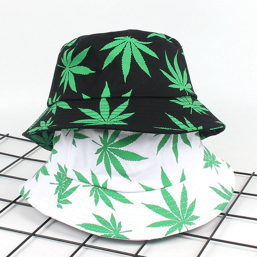 Print Maple Leaf Panama Bucket Hat Women Men Street Hip Hop Cap Couple Flat Fisherman Hats Summer Leaf Caps Boonie