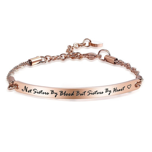 "Stainless Steel Best Friends Bracelet Bangle Friend Jewelry Friendship Gift ""Not Sisters By Blood But Sisters By Heart"""