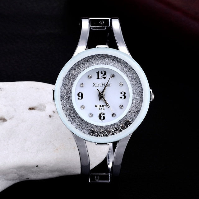 2019 XINHUA Fashion Watches Women Stainless Steel Bracelet Bangle Rhinestone Luxury Party Dress Female Clock Relogios Feminino