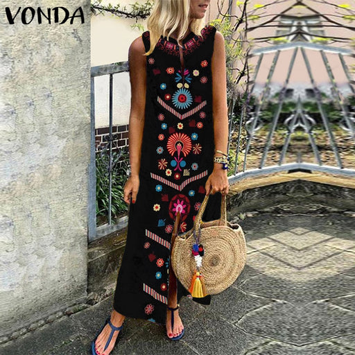 VONDA  Women  Dress 2019 Summer Casual Loose Sleeveless Split Dresses Floral Printed Party Long Kaftan Femme Vestidos 5XL