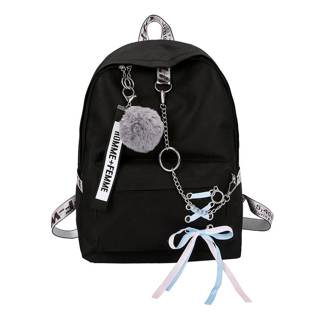 Chain USB Backpack Women Canvas 3pcs/set Women Backpack Teenager Girls Backpacks Shoulder Bag Female Student School Bags Tassel