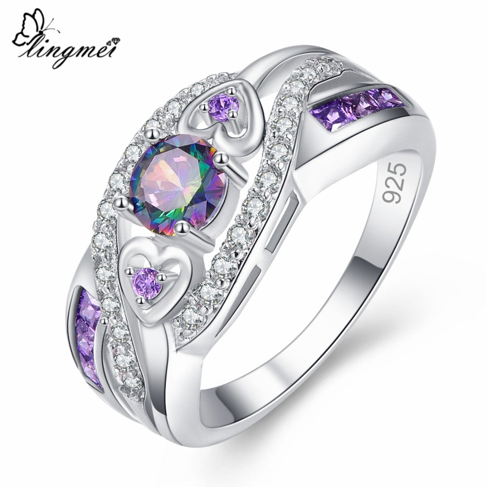 lingmei Dropshipping Fashion Women Wedding Jewelry Oval Heart  Design Multicolor & Purple White CZ Silver 925 Ring Size 6 7 8 9