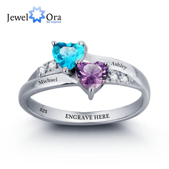 925 Sterling Silver Engagement Rings For Women Birthstone Engrave Name Heart Wedding Ring Anniversary Gift (JewelOra RI101781)