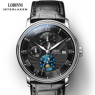 LOBINNI Men Watches Luxury Brand wrist watch Seagull Automatic Mechanical Clock Sapphire Moon Phase relogio masculino L1023B-1