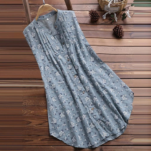 m-5xl Plus Size Sleeveless Blouse 2019 New Womens V-Neck Pleated Floral Print Sleeveless Loose Summer Cotton Linen Tops #15