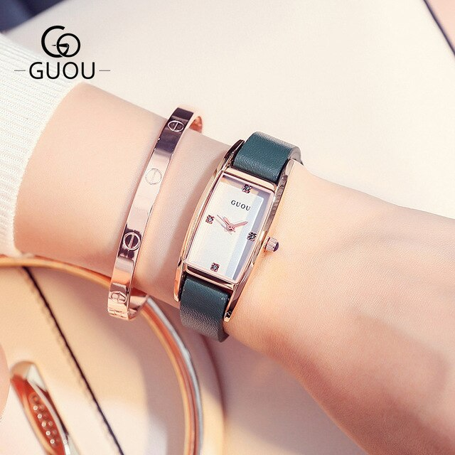 New Arrival Women Rhinestone Watches Austrian Crystal Real Leather Women Dress Watches Drop Ship relogio feminino reloj mujer