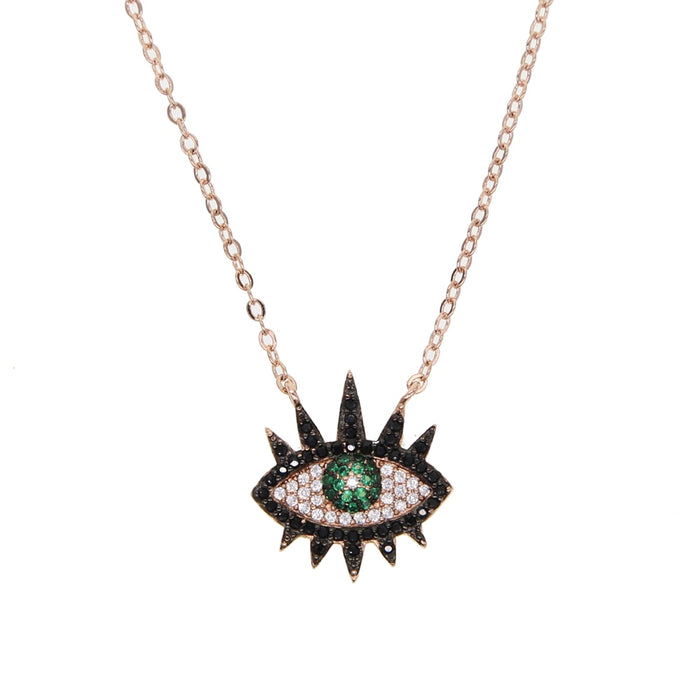 rose gold color black white blue cz paved Cool Evil eye charm Bohemia classic women fashion pendant necklace