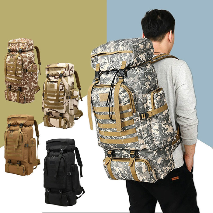 Outdoor Sport Molle 3P Bag 80L Waterproof Climbing Hiking Military Tactical Backpack Bag Camping Mountaineering