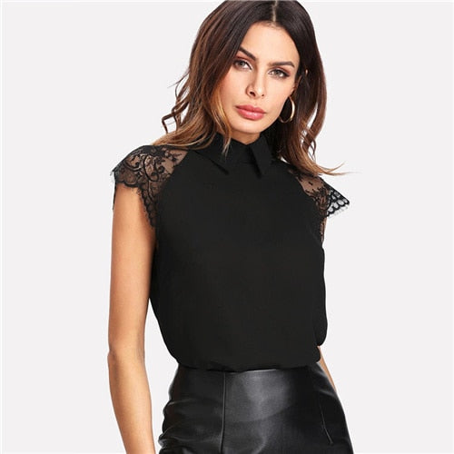 Sheinside Green Elegant Blouse Contrast Lace Top Office Ladies Workwear Turn Down Collar Sleeveless 2019 Summer Tops and Blouses