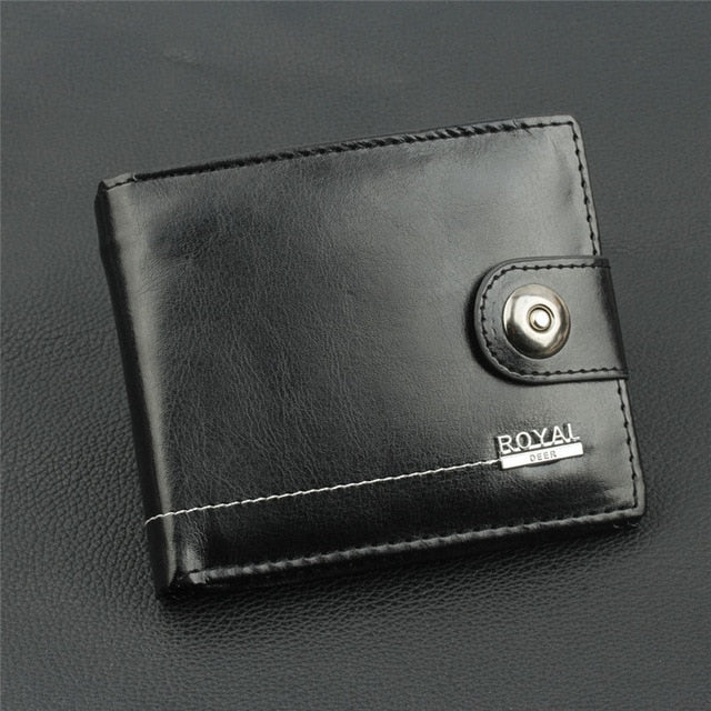 New PU Leather Men Wallets Short Coin Purse Small Vintage Wallet Hasp Zipper Money Bag Card Holder Pocket Purse Black Wallet