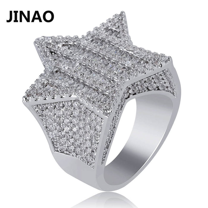 JINAO New Design Gold Silver Color Five-pointed Star Ring Micro Paved Big  Zircon Shiny Hip Hop Finger Ring for Men Women Gift