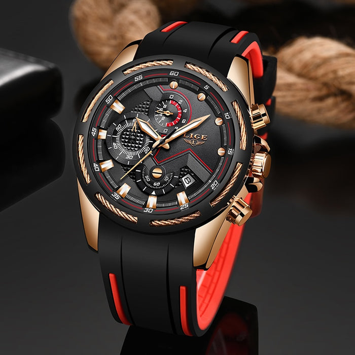 LIGE New Mens Watches Top Luxury Brand Men Unique Sports Watch Men's Quartz Date Clock Waterproof Wrist Watch Relogio Masculino