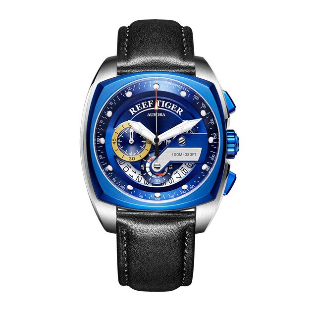 2019 Reef Tiger/RT Top Brand Sport Watch for Men Luxury Blue Watches Leather Strap Waterproof Watch Relogio Masculino RGA3363