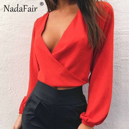 Nadafair Full Sleeve V Neck Backless Bow Short Chiffon Blouse Women Sexy Club Party Shirts Womens Tops And Blouses