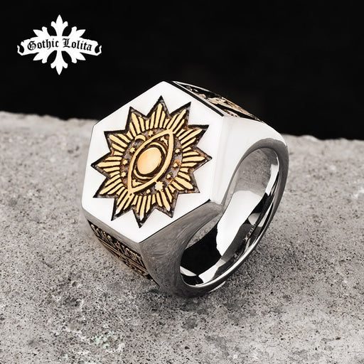 The Sun Devil Eyes hexagon Masonic Ring For Men  Stainless steel  Freemason Totem Jewelry hippop street culture mygrillz