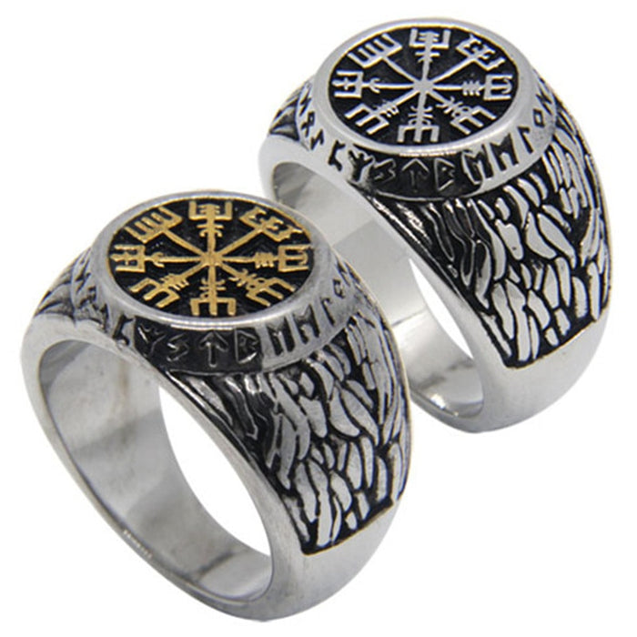 Rany&Roy New Size 7-14 Vikings Golden Silver Ring 316L Stainless Steel Fashion Jewelry Men Boy Ghost Vikings Ring