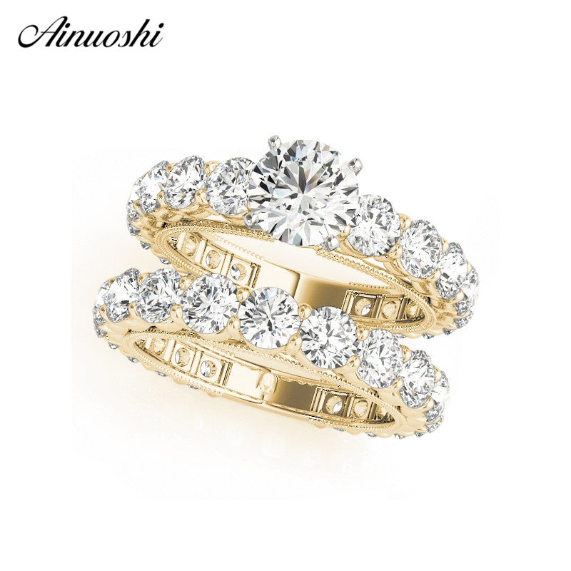AINUOSHI 925 Sterling Silver Women Wedding Ring Sets Yellow Gold Color Round Cut Lover Rings Aniversary Jewelry anillos de boda