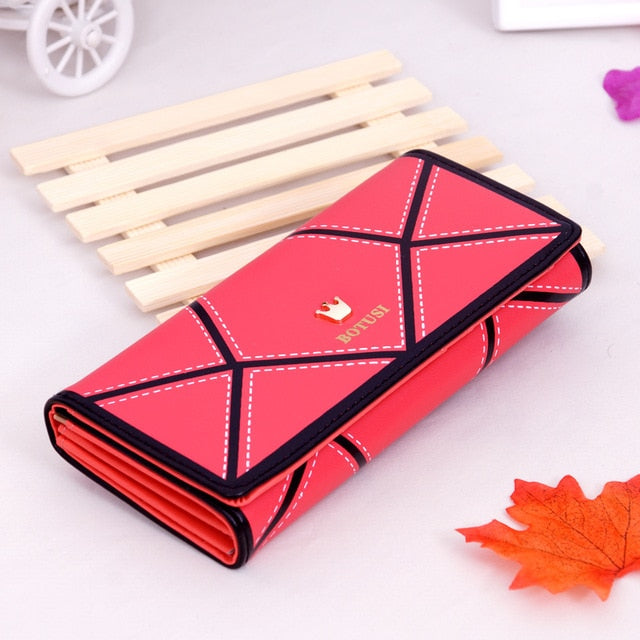 BOTUSI 2018 PU Leather Women hasp Long Wallet Ladies Purse Female Wallets Purse Card Holder coin cash bag Portefeuille femme