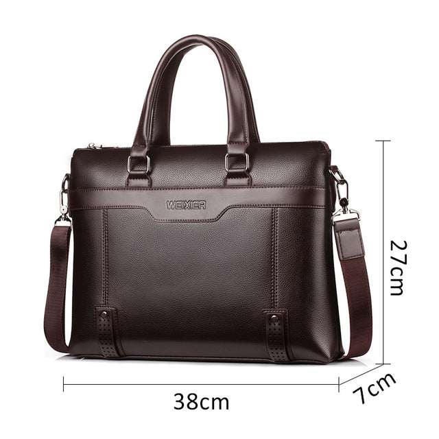 "Business Men's Briefcase Bag PU Leather Handbag for Men Shoulder Bags Large Man Briefcases for 14"" Laptop Waterproof Brown Bags"