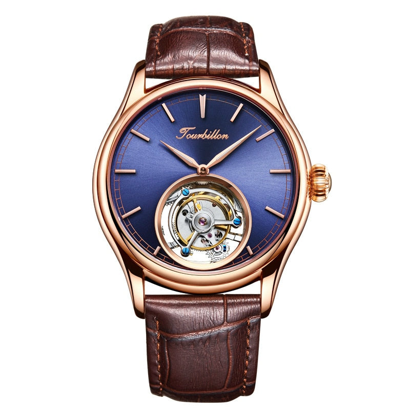 Customized High End Business Tourbillon Mechanical Men Wrist Watches Blue Dial Mechanical Hand Wind Leather Mens Wristwatch