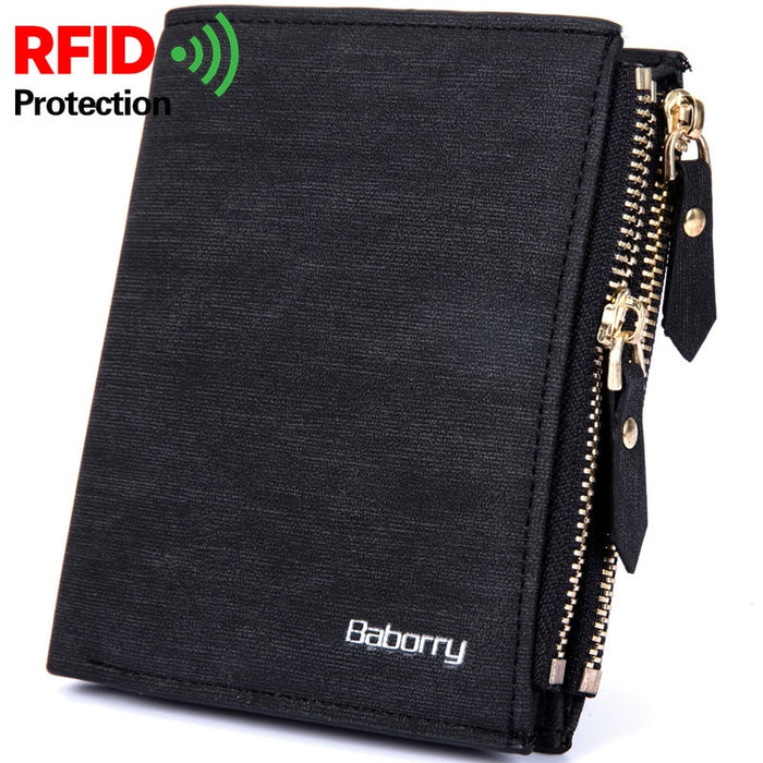 Vintage Men Wallet RFID Theft Protect Coin Bag Zipper Purse Wallets for Men with Zippers Magic Wallet Short Luxury Men's Purses