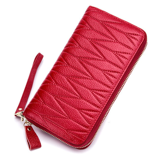 RFID Wallet for Women  Genuine Leather Female Travel Purse Zipper  Women's Wallet 36 Card Holder мини кошелек жен